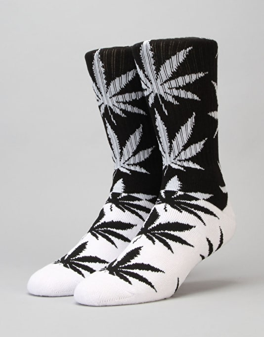 HUF Colour Block Plantlife Crew Socks - Black/White