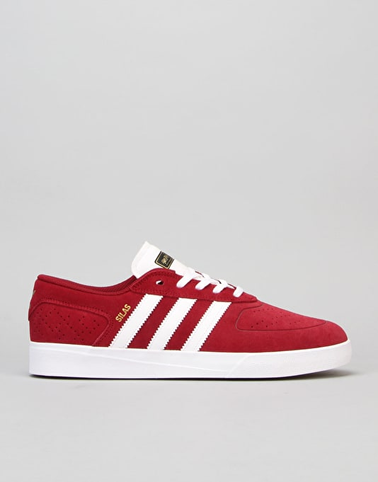 Adidas Silas Vulc ADV Skate Shoes - Burgundy/White/Black
