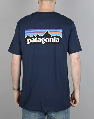 Patagonia P-6 Logo Pocket T-Shirt - Navy Blue
