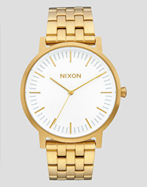 Nixon Porter Stainless Watch - All Gold/White Sunray
