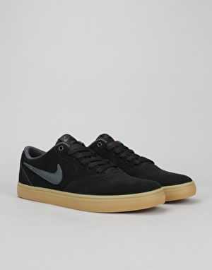 Nike SB Check Solarsoft Skate Shoes - Black/Anthracite -Gum Dark Brown