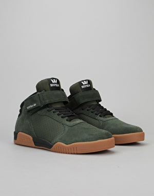 Supra Ellington Strap Skate Shoes - Dark Olive/Black-Gum