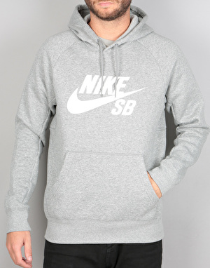 Nike SB Icon Pullover Hoodie - Dark Grey Heather/White