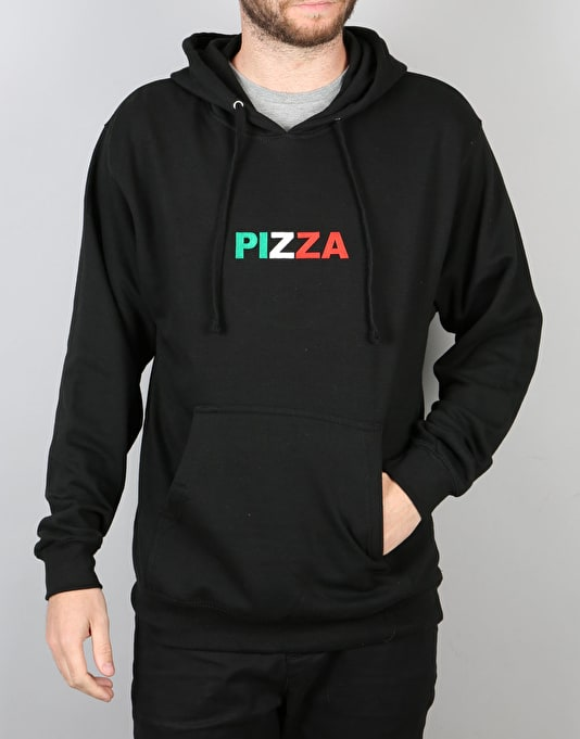 Pizza Tri Colour Logo Pullover Hoodie - Black