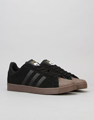 Adidas Superstar Vulc ADV Skate Shoes - Black/Gold/Gum