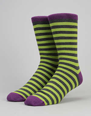 Route One Contrast Socks - Lime/Grey/Magenta