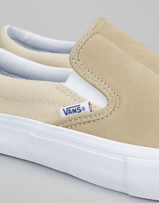 Vans Slip On Pro Skate Shoes - Sand/White