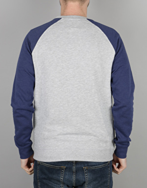 DC Rebel Crew Raglan Sweatshirt - Grey Heather/Summer Blues