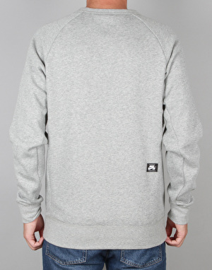 Nike SB Icon GFX Crew Sweatshirt - Dk Grey Heather/Circuit Orange
