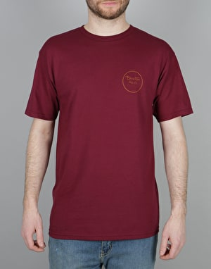 Brixton Wheeler II T-Shirt - Burgundy/Rust