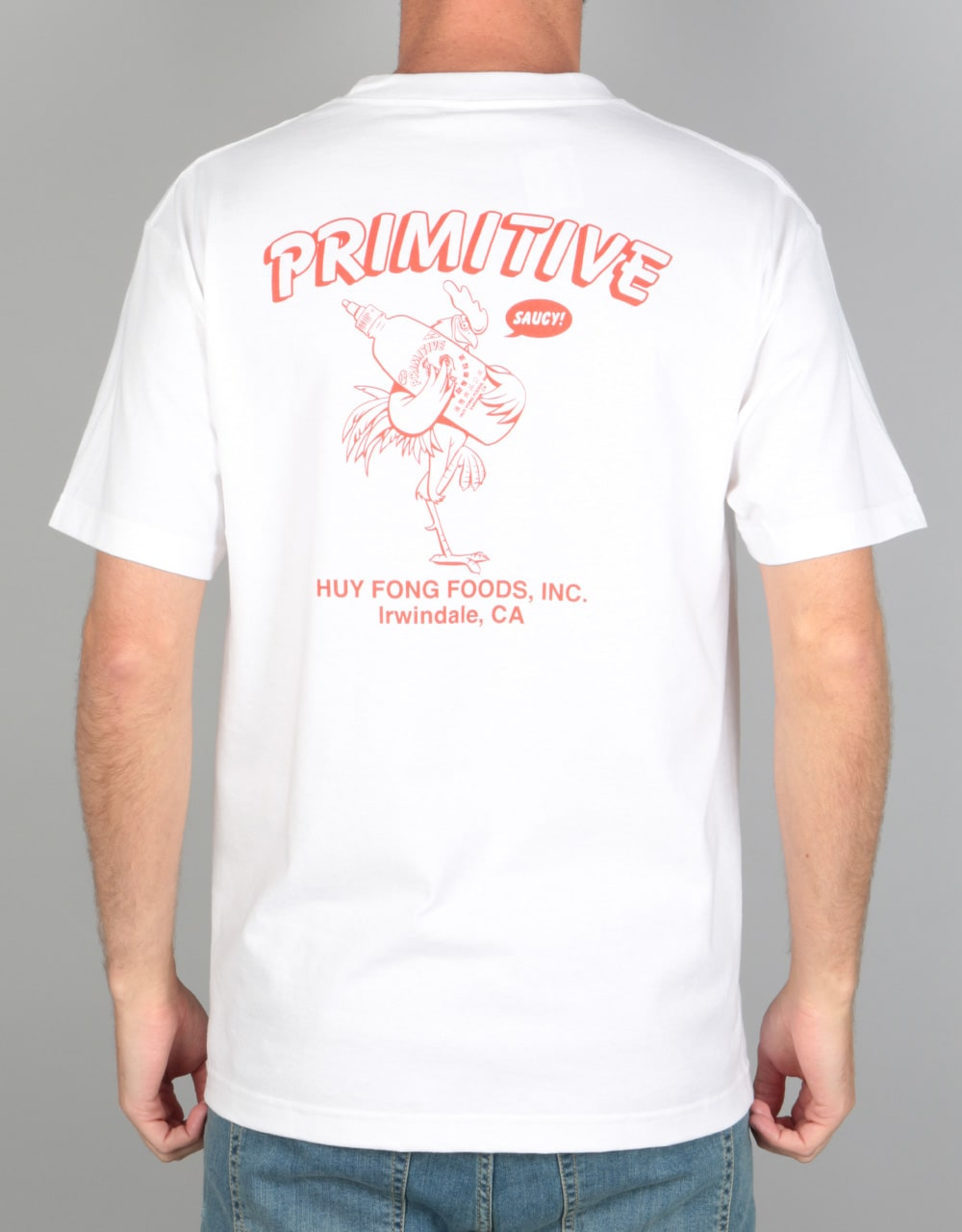 7e7edaf5 Primitive x Huy Fong Saucy T-Shirt - White | Skate Clothing | Mens  Skateboard Clothes | Route One