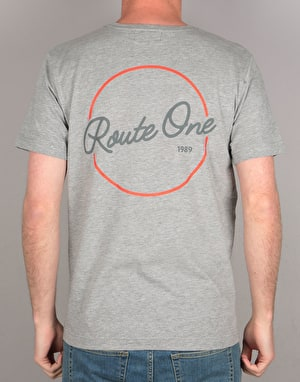 Route One Circle Script T-Shirt - Heather Grey