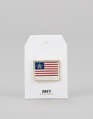 Obey Flag Pin - Red