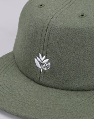 Magenta Plant Wool 6 Panel Cap - Khaki Green