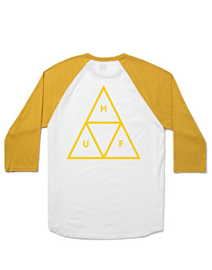 HUF Triple Triangle Raglan T-Shirt - White/Mustard