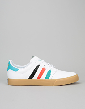 Adidas Seeley Court Skate Shoes - White/Energy Blue/Energy