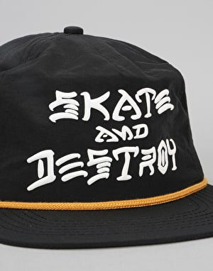 Thrasher Skate and Destroy Puff Ink Snapback Cap - Black
