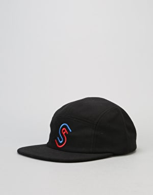 Stüssy Foam Fleece USA Camp 5 Panel Cap - Black