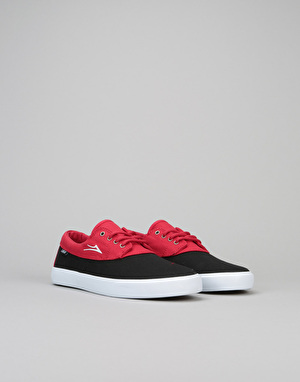 Lakai Camby Boys Skate Shoes - Black/Red Canvas
