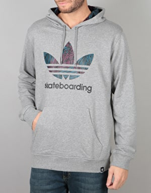 Adidas Clima 3.0 Plm HD Pullover Hoodie - Core Heather/Blue Night/Red