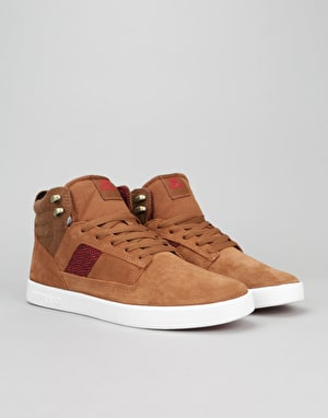 Supra Bandit Skate Shoes - Brown/Red Herringbone/White