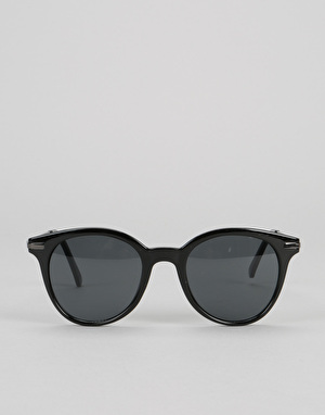 Route One Round Retro Metal Arm Sunglasses - Black
