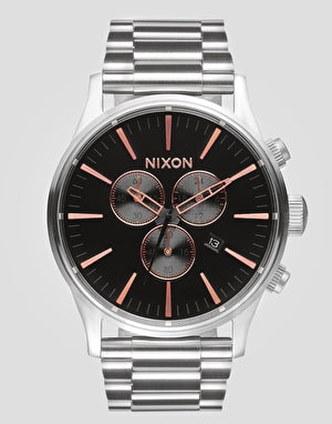 Nixon Sentry Chrono Watch - Grey/Rose Gold