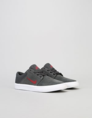 Nike SB Portmore Boys Skate Shoes - Anthracite/Team Red
