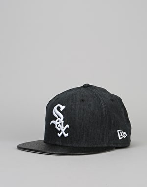 New Era 9Fifty MLB Chicago White Sox Flip Leather Snapback Cap - Black