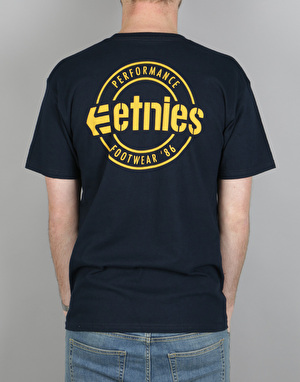 Etnies New Park Lock Up T-Shirt - Navy/Yellow