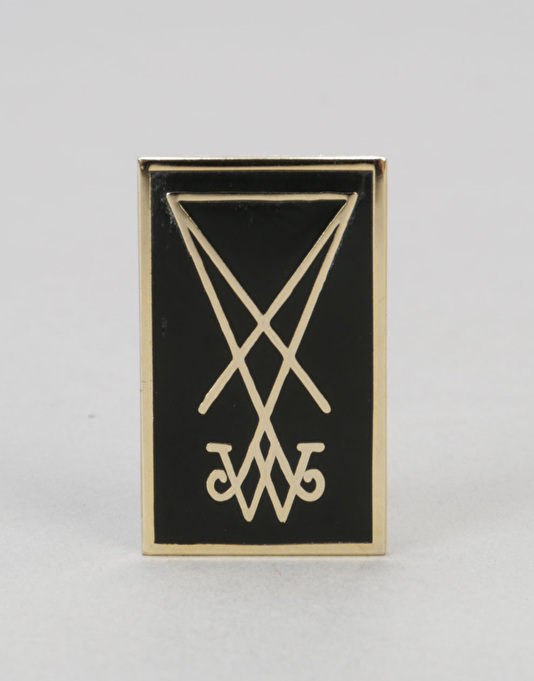 "Welcome Symbol 1.5"" Enamel Pin - Black/Gold"