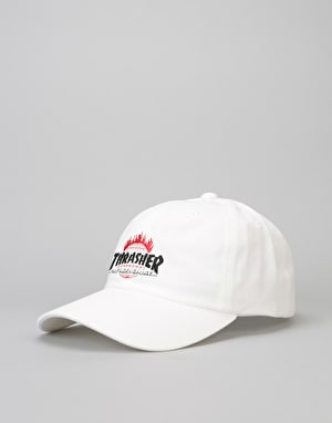 HUF x Thrasher TDS Curved Visor 6 Panel Cap - White