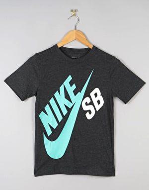 Nike SB Big Logo Boys T-Shirt - Black Heather/Clear Jade