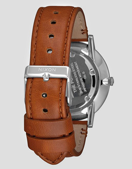 Nixon Porter Leather Watch - White/Sunray Saddle