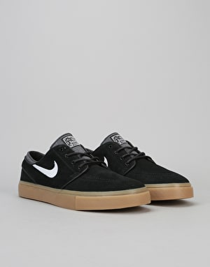 Nike SB Zoom Stefan Janoski Skate Shoes - Black/White-Gum Light Brown