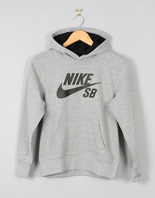 Nike SB Logo Boys Pullover Hoodie - Dark Grey Heather