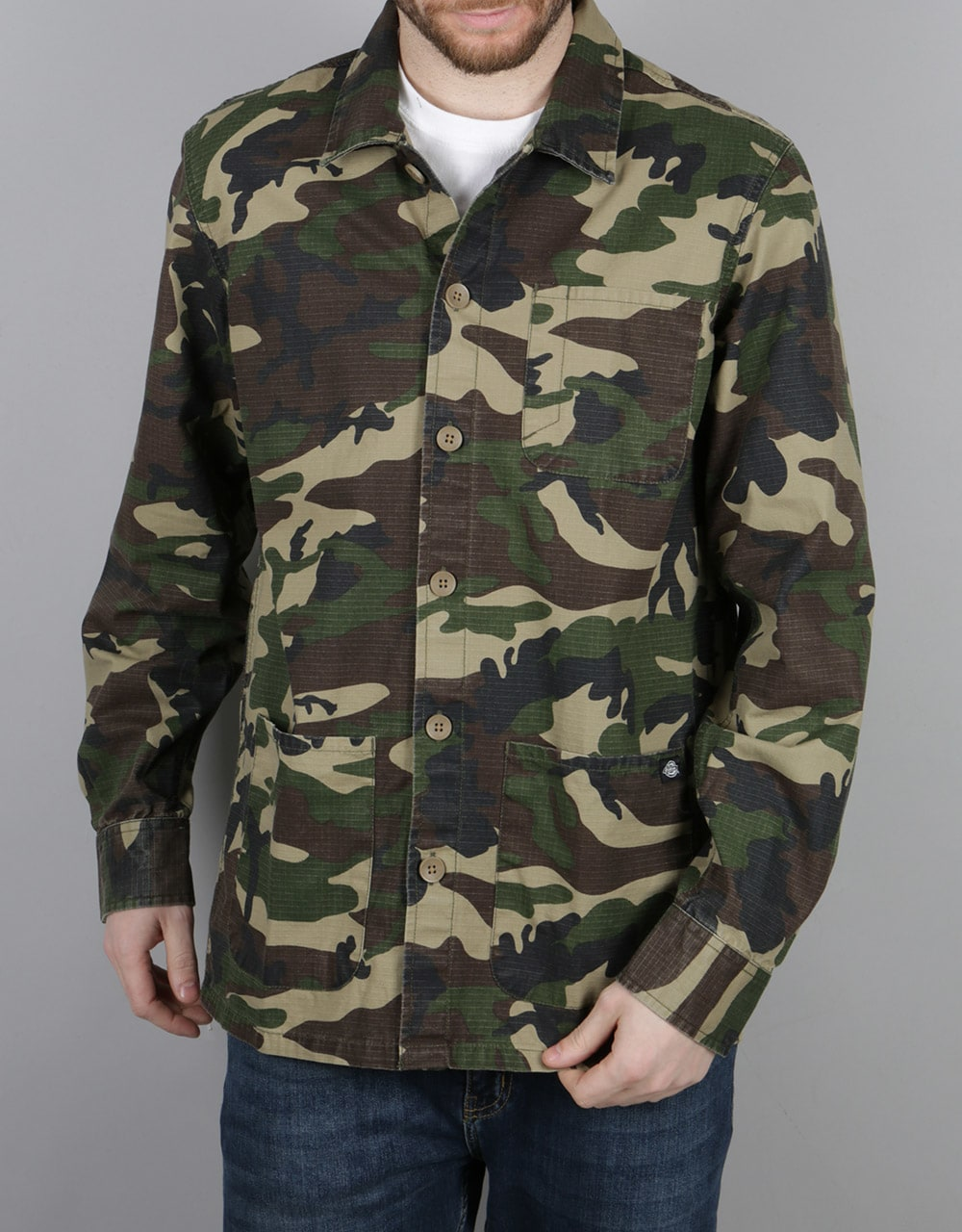 Dickies kempton l s shirt camouflage long sleeve skate for Dickey shirts clothing co