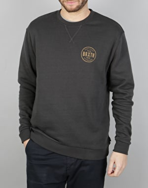 Brixton Cowen Crew Fleece Sweatshirt - Washed Black