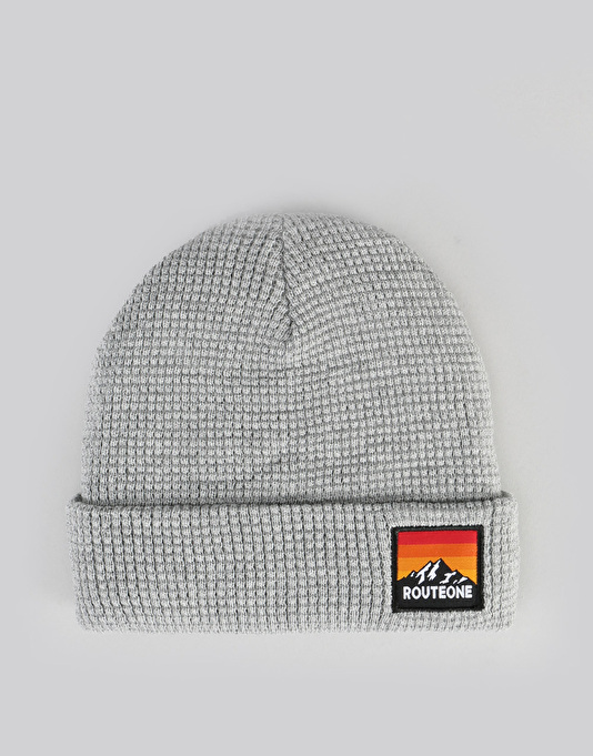 Route One Waffle Cuff Beanie - Heather Grey