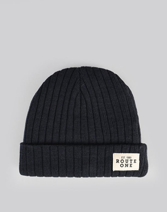 Route One Ribbed Fisherman Beanie - Navy