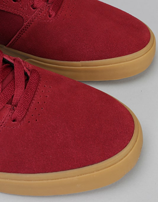Emerica The Reynolds Low Vulc Skate Shoes - Burgundy/Gum