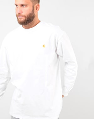 Carhartt L/S Chase T-Shirt - White/Gold