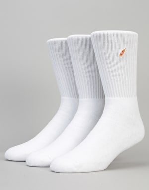 40's & Shorties Basic 3 Pack Socks - White