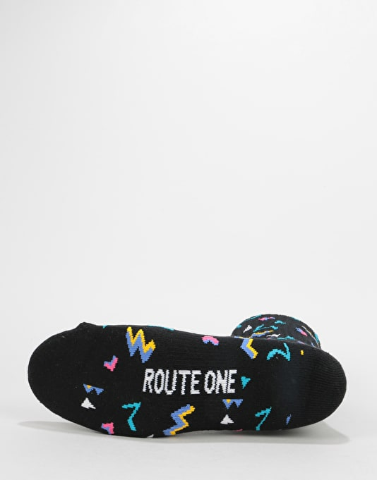 Route One Fresh Crew Socks - Black/Multi