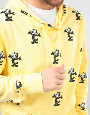 HUF x Felix The Cat Felix Allover Print Pullover Hoodie - Banana