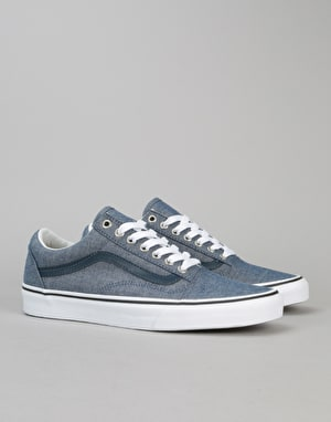 Vans Old Skool Skate Shoes - (C&L) Chambray/Blue