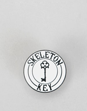 Skeleton Key Enamel SKMFG Pin - White/Black