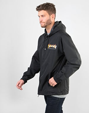 Thrasher Flame Mag Coaches Jacket - Black