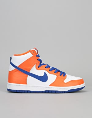 Nike SB Dunk High Supa QS Skate Shoes - Safety Orange/Hyper Blue-Wht
