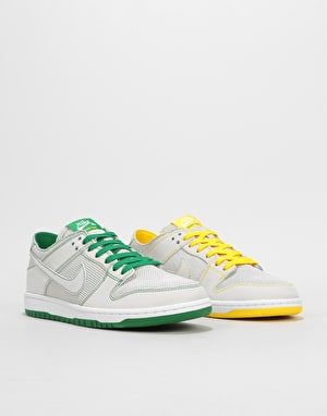 Nike SB x Ishod Dunk Low Decon Skate Shoes - White/Aloe Verde-Yellow